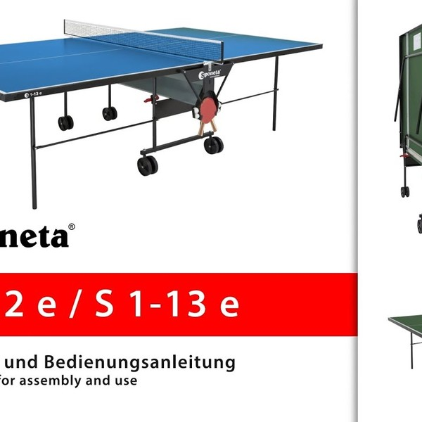 Sponeta S 1-12 e / S 1-13 e - Montageanleitung Tischtennistisch / Instructions for assembly and use